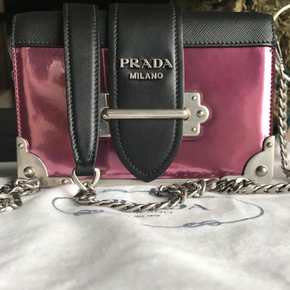 8e91ed37af61 Prada Cahier Saffiano Leather Pink Shoulder Bag